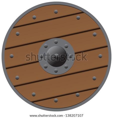 Wooden shield medieval Bound steel. Vector illustration. - stock vector