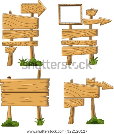 wooden sign and signboard - stock vector