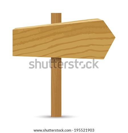 Wooden sign, arrow.    Vector illustration.  - stock vector