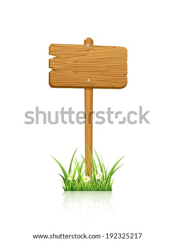 Wooden sign in grass isolated on white background, illustration. - stock vector
