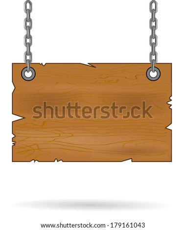 Wooden sign isolated on white. Wood old planks sign. wooden sign hanging on a chain. vector illustration art, isolated on white background eps10 - stock vector