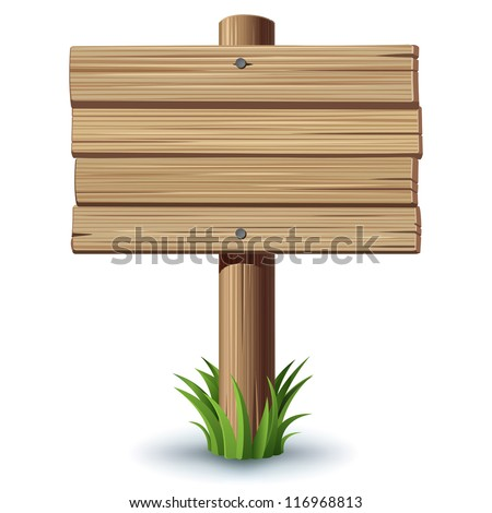 Wooden sign on a grass - stock vector