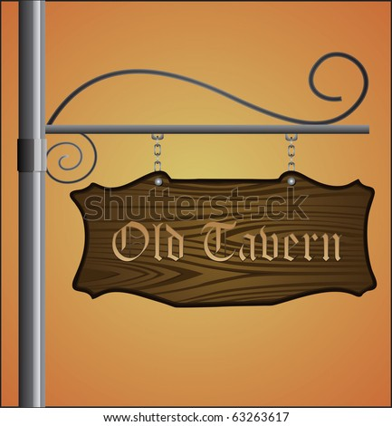 Wooden sign on metal pole with Old Tavern label - stock vector