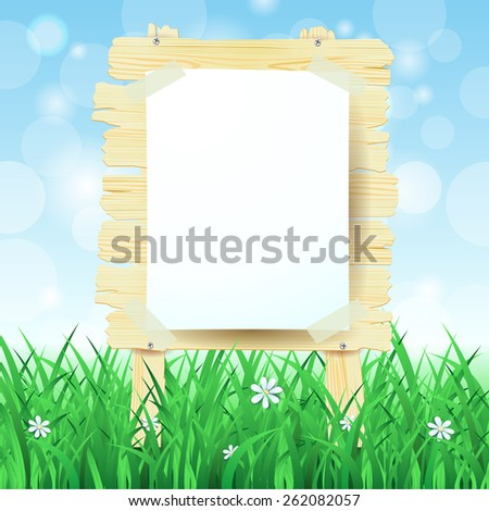 Wooden sign on spring background, vector eps10 - stock vector