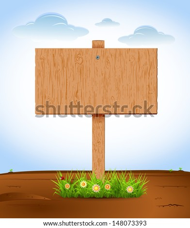 Wooden sign on the grass. Flowers. sky. Vector illustration. - stock vector