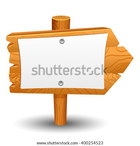 Wooden sign, post, icon, symbol, label - stock vector