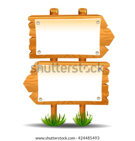 Wooden sign post icon symbol label - stock vector