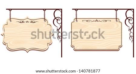 wooden sign Vector - stock vector