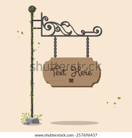 Wooden sign with green leaves - stock vector