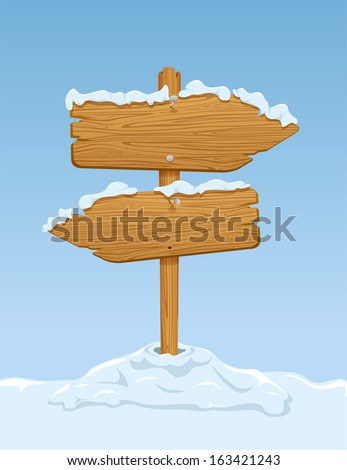 Wooden sign with snow on blue sky background, illustration. - stock vector