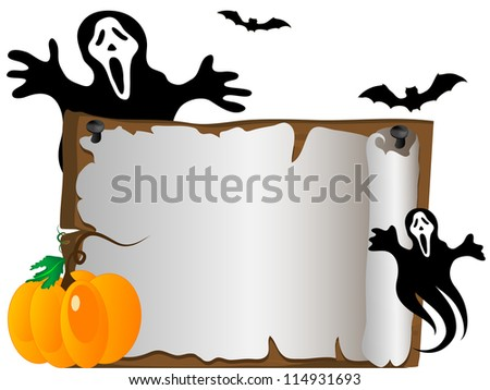 Wooden signboard and the ghost at the back - stock vector