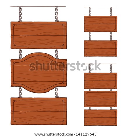 wooden signboards on the metal chains - stock vector