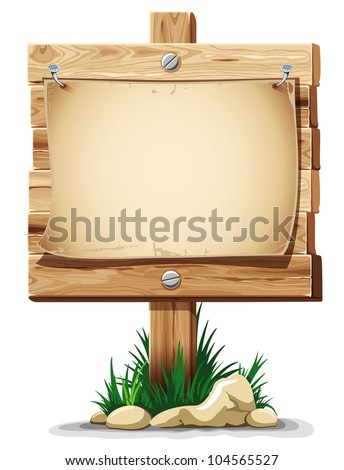 Wooden signpost with nailed paper sheet, grass and stones. There is space for your text. Vector illustration. - stock vector