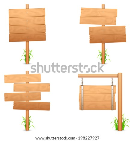 Wooden signs. - stock vector