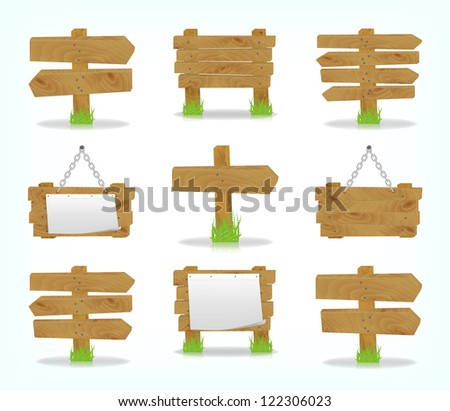Wooden signs set, vector, 10eps. - stock vector