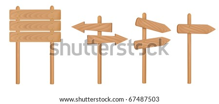 Wooden signs. Vector illustration. - stock vector