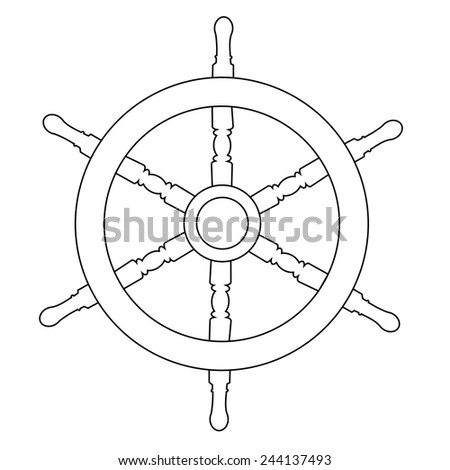 Wooden steering ship wheel vector isolated on white , outline drawings, silhouette - stock vector
