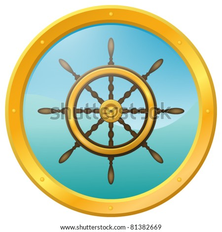 Wooden steering wheel with gold plates on the blue wavy background, surrounded by a porthole. Eps10. - stock vector