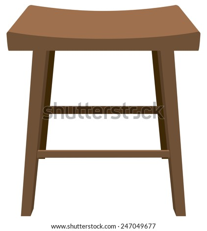 Wooden stool with a biometric seat. Vector illustration. - stock vector