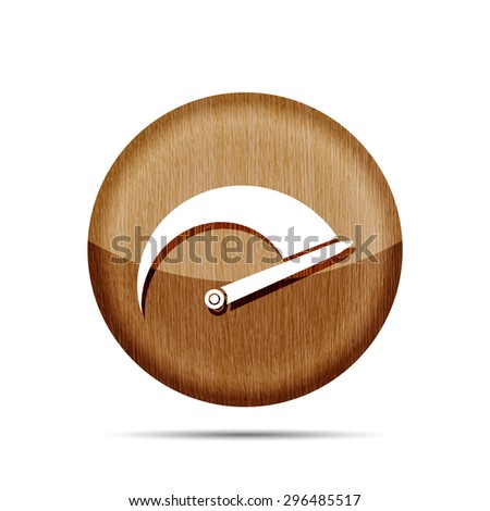 wooden Tachometer icon on a white background - stock vector