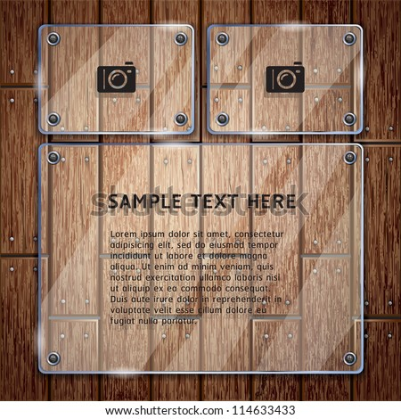 Wooden texture background and glass frame. vector illustrator - stock vector