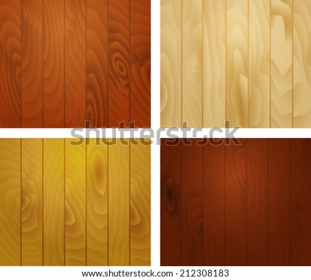 Wooden texture background of the vertical planks, set of textured squares - stock vector
