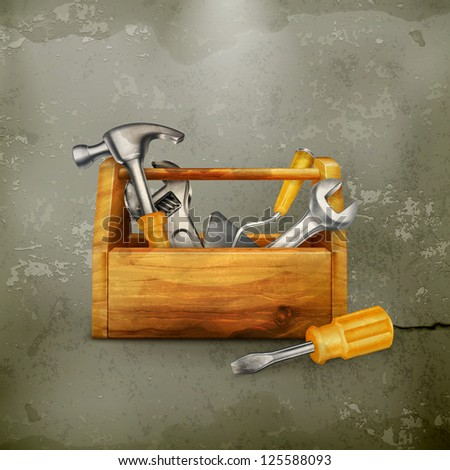 Wooden toolbox, old-style - stock vector