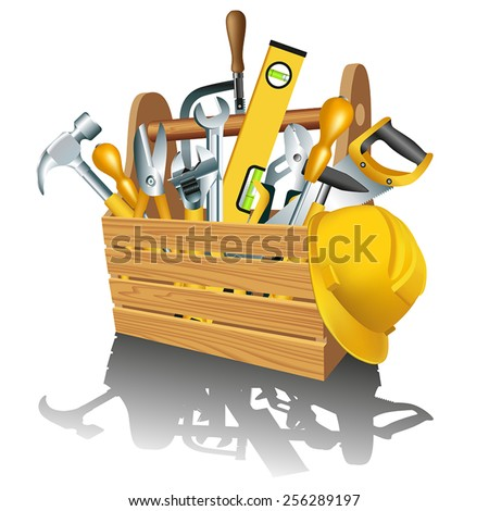 Wooden toolbox with tools isolated on white. Vector illustration - stock vector