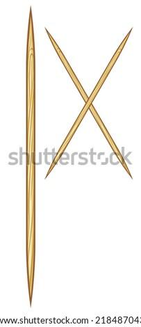 wooden toothpicks vector illustration - stock vector