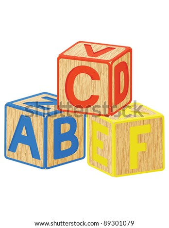wooden toy cubes with letters - stock vector