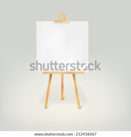 Wooden tripod with a white sheet of paper on white background - stock vector