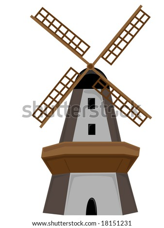 Wooden Windmill isolated with door and windows - stock vector