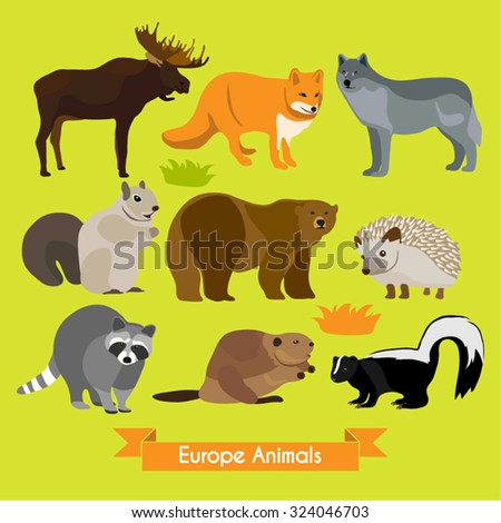 Woodland Animals Vector Design Illustration - stock vector
