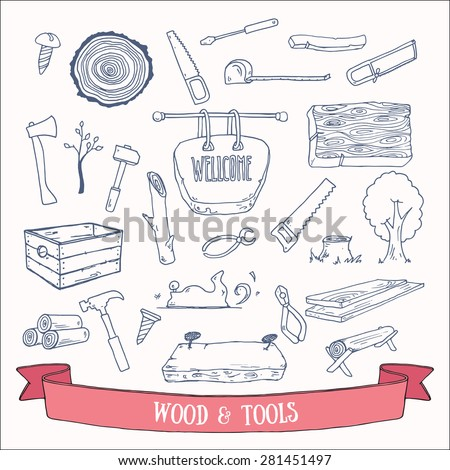 Woodworking, lumberjack and tools vector doodles. Hand drawn vector set. - stock vector