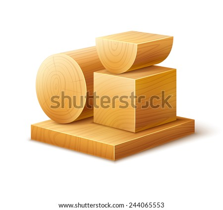 Woodworks wooden workpieces blocks of various forms. Eps10 vector illustration. Isolated on white background - stock vector