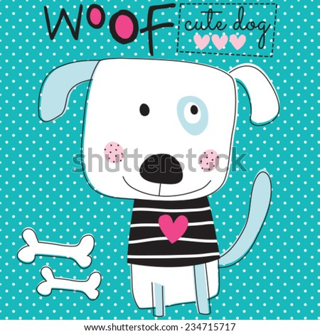 woof cute dog vector illustration - stock vector