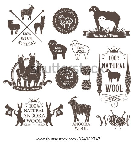 Wool labels and design elements. Logo set of sheep, alpaca, rabbit and goat wool. Signs and emblems for 100% natural wool products. - stock vector