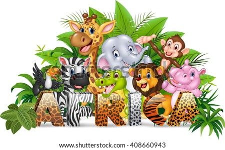 Word Africa with funny cartoon wild animal - stock vector