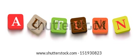 "Word ""autumn"" with colorful blocks isolated on a white background. Description with bright cubes. Vector illustration EPS 10. - stock vector"
