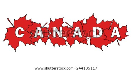 word Canada written by letters cut out of red maple leaves - stock vector