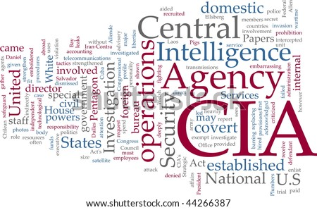 Word cloud concept illustration of  CIA Central Intelligence Agency - stock vector