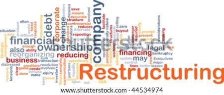 Word cloud concept illustration of company restructuring - stock vector