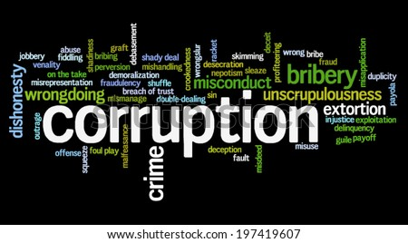Word cloud containing words related to corruption, crime, bribery, shadiness, sin, unscrupulousness, wrongdoing and illegal activities - stock vector