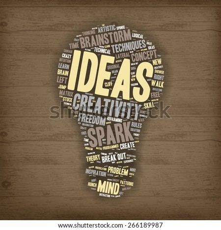 Word Cloud - Creativity, Inspiration and Ideas. word cloud about the creative process, Light Bulb shape on Wooden Background  - stock vector