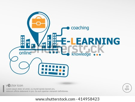Word Cloud E-Learning and marketing concept. E-Learning concept for application development, creative process. - stock vector