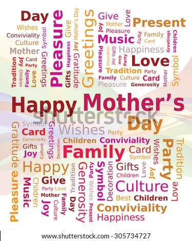 Word Cloud - Happy Mother's Day in Red and Orange Colors - stock vector