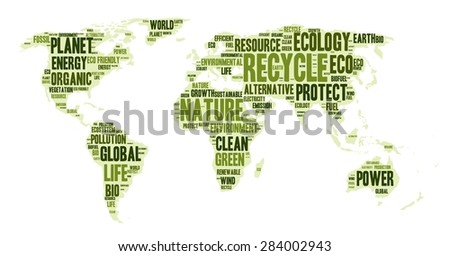 Word cloud in a shape of world map, eco theme, vector illustration - stock vector