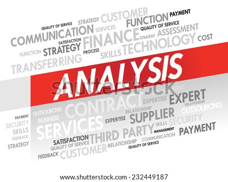 Word cloud of ANALYSIS related items, presentation background - stock vector