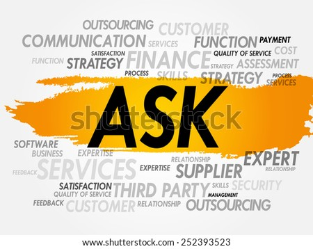 Word cloud of ASK related items, presentation background - stock vector
