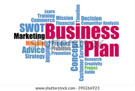 Word cloud of Business plan management mind map - stock vector